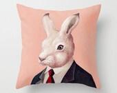 Rabbit THROW PILLOW, Peach Decor, Animal Cushion