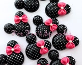 2 pc set- Pretty Minnie inspired Mouse Flatback resin- Polka dot Mouse cabochon- w/ PINK bow * Hair bow center *