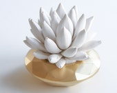SALE: Succulent Sculpture with Geometric GOLD Container, Tabletop, Desktop Accessory, Modern Minimalist Home and Office Decor