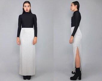 Vtg 90s Silver Metallic Futuristic Hi Cut Slit Glam Midi Skirt Gown M L