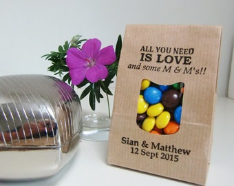 Rustic Wedding Favor Bags-LOVE AND M & M's-Kraft Bags with Window-Various Sets-Personalized-Wedding Favors-Wedding-Wedding Reception