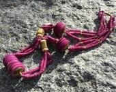 Vintage 70s Statement Chunky Dyed BONE BRASS Necklace Boho Hippy Gypsy Ethnic Tribal