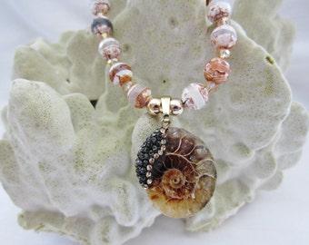 Beaded Shell Necklace, Ammonite