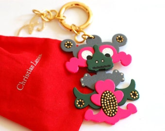 Key ring Christian LACROIX/Vintage Authentic/Luxe 80s Couture Earrings/chic