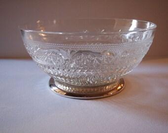 Sandwich Glass Serving Bowl on Silver Plate Base