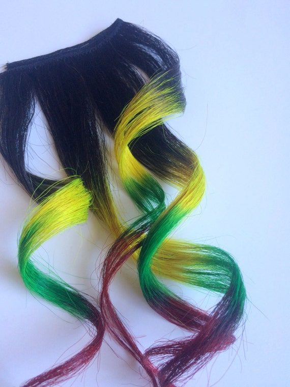 Rasta Ombre Black to Yellow Green Red Ombre Color Melt Human