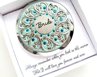 Something Blue Bridal Gift, Bridal Compact Mirror, Unique Bridal Gift