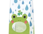 """SALE From HEIKO Animal Print treat bag with window """"FROG"""" with Gusset Set of 10 Medium Size Paper Bags with lining.."""