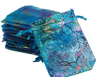 """Beautiful Iridescent Organza Pouches  """"Coral Reef"""" in blue 12x9 cm set of 25"""