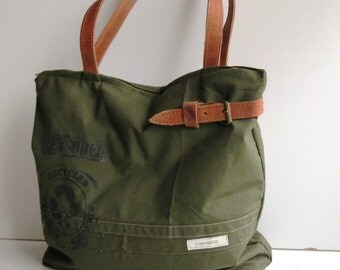 Military shopper, canvas bag with leather straps