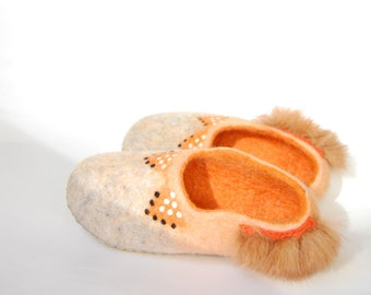 Fox art slippers in crochet bag for girl - felted wool slippers-Grey orange house shoes-Gift for girl Eco living-14 US 32EU