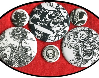 """6 Skeletons of Death 1 inch buttons AND 2.25"""" aka 2 1/4"""" Mixed size Oddity Macabre button set"""