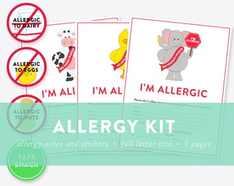 Allergy Kit - Nut Allergy, Dairy Allergy, Eggs Allergy - Notes and Stickers - INSTANT DOWNLOAD