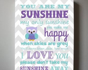 You Are My Sunshine Canvas Wall Art for Nursery or Kids Room, Sunshine Lyrics, Purple and Gray Owl Room Decor