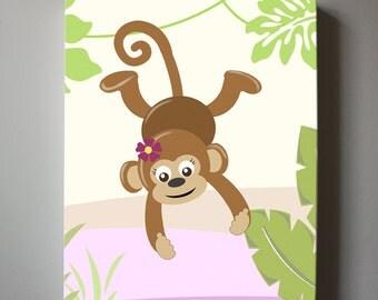 Baby Girl Monkey Nursery wall art - Monkey canvas art, Pink and Green Baby Nursery , Jungle Nursery Wall Decor