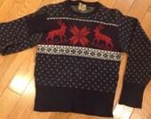 Vintage 1940s Welgrume Reindeer Wool Sweater size S