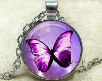 Purple butterfly necklace, purple butterfly pendant, purple butterfly jewelry, butterfly jewelry, butterfly necklace, Pendant #AN103P