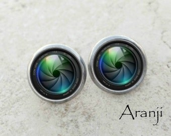 Camera lens earrings, lens earrings, camera earrings, stud earrings, camera earrings, gift for photographer, HG101E