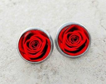 Red rose earrings, rose earrings, bright red rose earrings, rose stud earrings