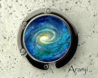 Spiral galaxy purse hanger, tabletop purse hanger, purse hanger, purse hook, galaxy purse hook, galaxy purse hanger, Space purse hook