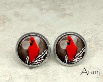 Glass dome cardinal earrings, cardinal earrings, cardinal stud earrings, cardinal post earrings AN156E