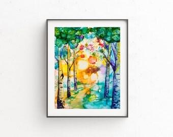 "Giclee PRINT of ""Komorebi"" wall art painting trees"