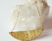 DUSTY MOON  - Rustic Hammered Brass Crescent Moon Necklace - Spark And Thistle