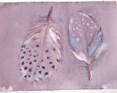 Feather paintings/ Watercolor painting original/ Pastel purple gray feather illustration. Fantasy feather art/ Birthday gift for him ooak