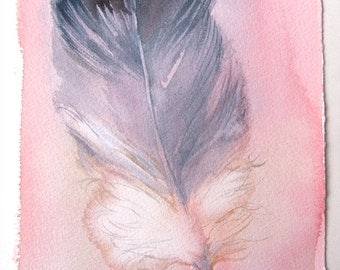 Watercolor feather painting/ Minimalist art/ Fantasy feather illustration/ Small watercolors 7,5'x11'/ Pink gray painting, Art lovers gifts