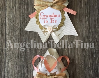 NEW Twinkle Twinkle Little Star Peach/Cream/Gold Grandma To Be Corsage Set