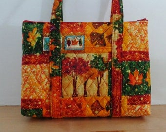 Fall Trees Leaves Gold Green Orange Print Quilted Purse Quilted Handbag