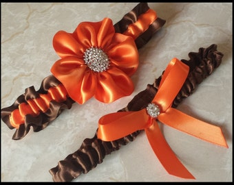 Wedding Garter, Chocolate Brown Satin with Orange flower with Rhinestone Buttons....