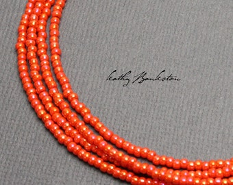 Orange Seed Bead Necklaces, Orange Beaded Necklaces, Orange Layering Necklaces, Dainty Orange Necklace, Long Orange Necklace, Kathy Bankston