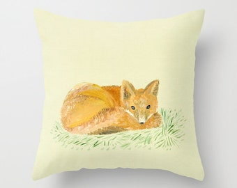 Fox Throw Pillow, fox painting pillow, pillow with fox, nursery pillow, fox nursery, woodland pillow, woodland nursery, fox pillows