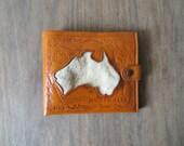 70s Tooled Leather Wallet, Genuine Cowhide, Australia Souvenir Novelty Bifold, Kaha Leather Goods, Koala Billfold
