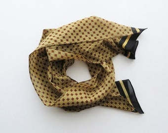 90s Mod Square Print Scarf Polyester Mustard Yellow Black Brown