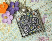 Flower Child Heart with Flowers Pendant Necklace Polymer Clay Jewelry, Lavender Purple Orange White Silver , Boho Hippie Jewelry