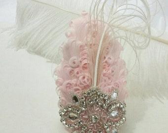 Blush pink and rhinestone wrist Corsage,  prom corsage, blush wedding corsage, Gatsby corsage,  arm corsage, corsage bracelet, blush dress