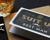 Suit Up Groomsman Wedding Greeting Cards, Usher / Best Man / Give me Away