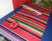 CINCO de MAYO, GRADUATION - Red Banquet Size Table Runner made from Mexican Serape cloth, with fringe -