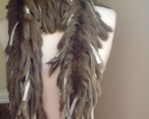 70s style rabbit fur scarf / genuine fur boa in army green / soft fun cozy scarf / bohemian style