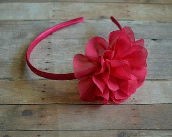 Pink Valentine's Flower Hard Headband Baby Headband Bright Pink Toddler Headband Flower Girl Spring Summer