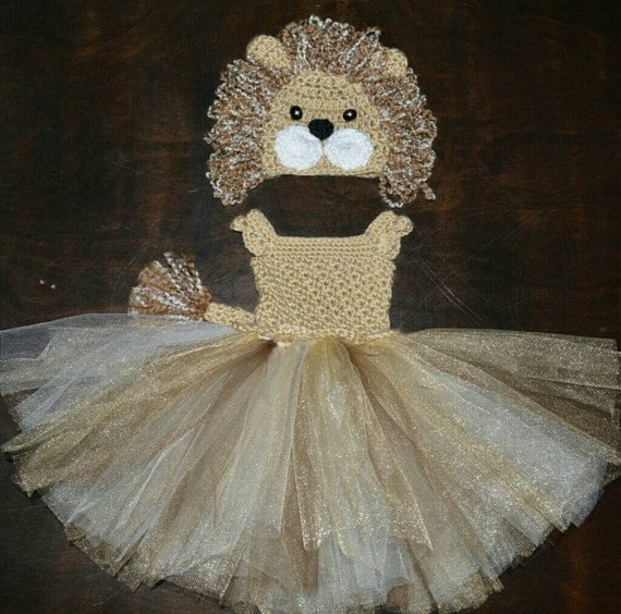 Crochet Lion Tulle Tutu Dress With Matching Hat Baby Costume