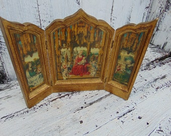 Antique Vintage Florentine Wooden Madonna Triptych Large Alter Icon Gold Italy