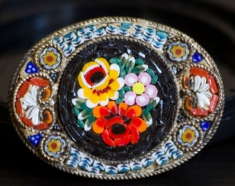 Exquisite Vintage Colorful Italian Mosaic and Silver Pin