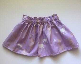 Purple & Metallic Gold Deer Skirt 18-24M