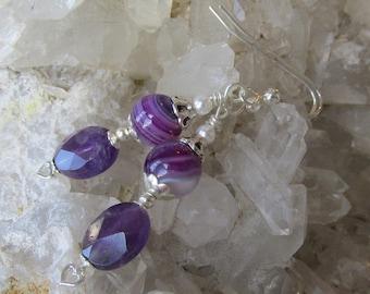 "Hand-Made ""Garden Room"" Art Glass & Amethyst Artisan Earrings, ""Lavender Dreams"" #88"