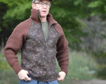 Felt for Men: eco style felted sweater from  A-Grade wool (with hand knitted fragments) OOAK - to order only!