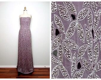 VTG Heavily Beaded Gown // Sheer Mauve Formal Dress w/ Tiny Cutouts