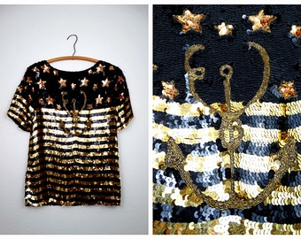 Anchor Sequin Art Deco Top / Fully Embellished Striped Silk Blouse / Black & Gold Stars Sequined Beaded Top
